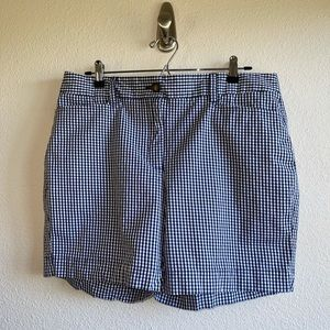 Lands End Navy & White Gingham Shorts Plus Size